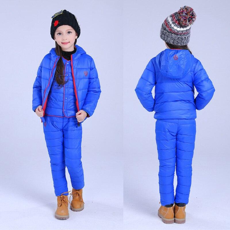Weste Hose Wasserdichte Kleidung Set Schnee Winter Warme Kinder Trainingsanzug Jungen Kleidung Sport Anzug 3 Pcs Weihnachten Unten Jacke