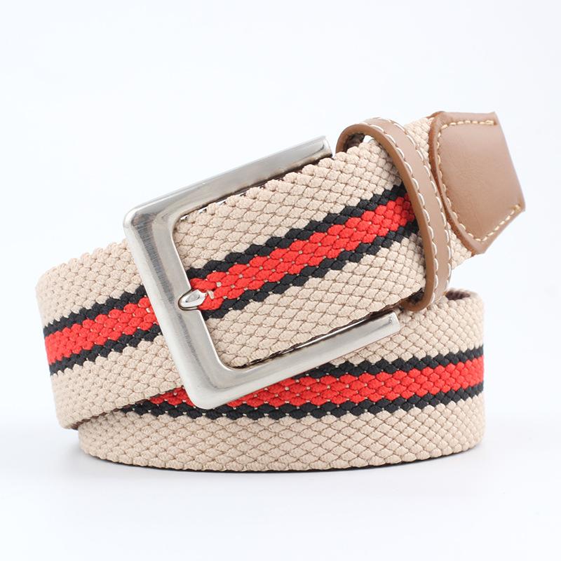 Causey Fashion canvas jeans belts for designer brand luxury women Metal Elastic stripes belt Casual Wide Men Stretch Strap Cinto