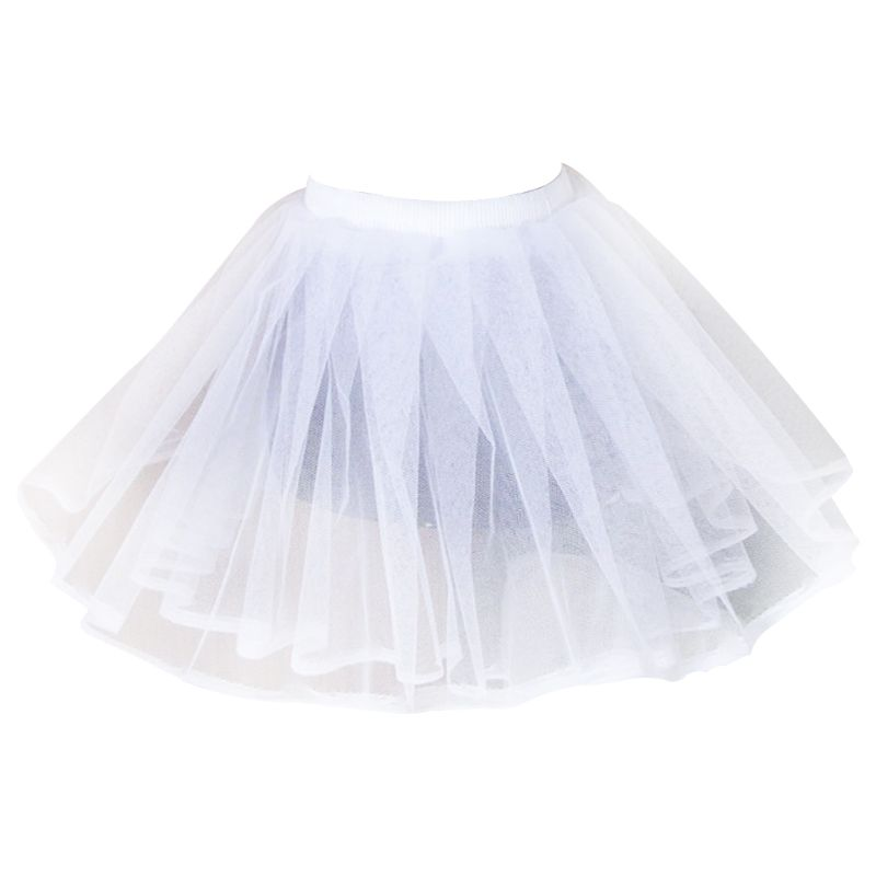 Women White Hard Mesh Short Petticoat Double Layers Girl Lolita Tutu Skirt Semi See-Through Wedding Dress Crinoline Underskirt