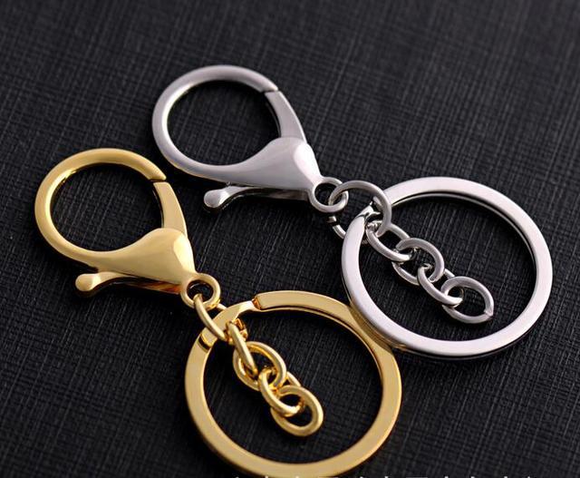 Classic Rvs Sleutelhanger Ring Zilver Metal Swivel Kreeft Sluiting