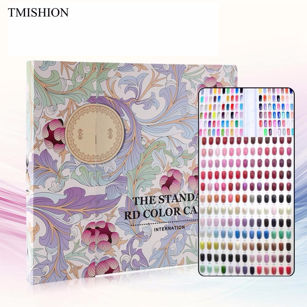 TMISHION 120 Colors Nail Gel Color Display Chart Book Card Nail Polish Color Display Card Nail Art Showing Board Manicure Tool