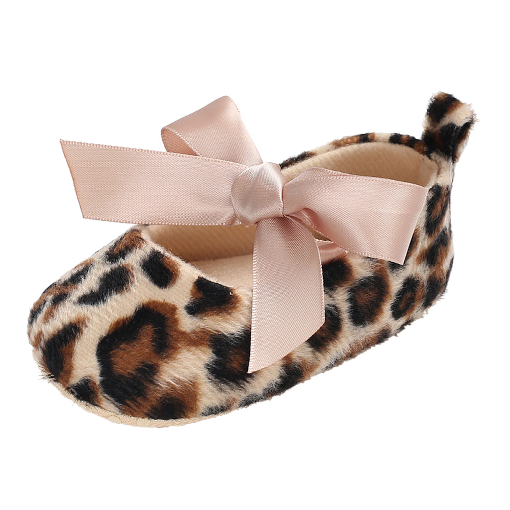 Toddler Cute Girl Leopard Print Tie Soft Newborn Anti-slip Baby Shoes New Girls Kids Leather Shoes Children slip-on shoe