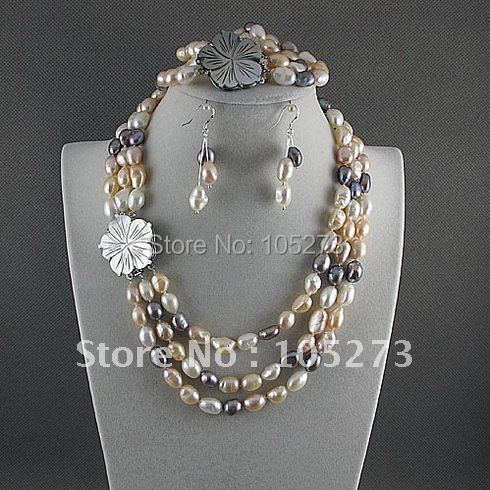 Charming!jewelry set AA 8-9mm white pink gray Genuine freshwater pearl necklace bracelet earring Hot sale free shipping A2396Charming!jewelry set AA 8-9mm white pink gray Genuine freshwater pearl necklace bracelet earring Hot sale free shipping A2396