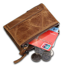 Genuine Crazy Horse Cowhide Leather Men Wallet Short Coin Purse Small Vintage Wallets Anti-RFID Pirate Brush Men Purse Wallet(China)