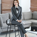 2016 Mulheres Conjunto Terno Formal Escritório Ladies Trabalho desgaste Feminino estilo uniforme de negócios Pant Ternos elegantes de Alta Qualidade
