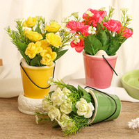 2017 New Design Simulation Flower Ceramic Flower Pots Container Fake Flower Figurine Home Garden Decor Flowers