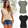 Women T-shirts Female Solid Color Cotton Basic Tassel T shirt 2017 Fashion Summer Tops Plain Women's Blank Tshirts With Prints