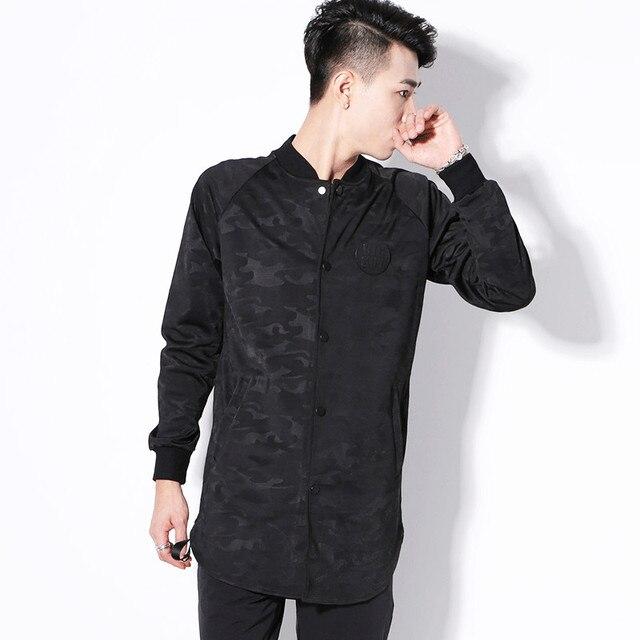2017 primavera outono novos homens trench coat moda masculina hiphop casaco de camuflagem preta slim fit cardigan casaco trench tamanho grande 3XL
