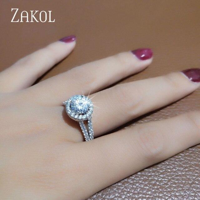 ZAKOL New Luxury Round CZ Zirconia Crystal Micro Paved Wedding Finger Rings for Women Engagement Wedding Jewelry FSRP2038