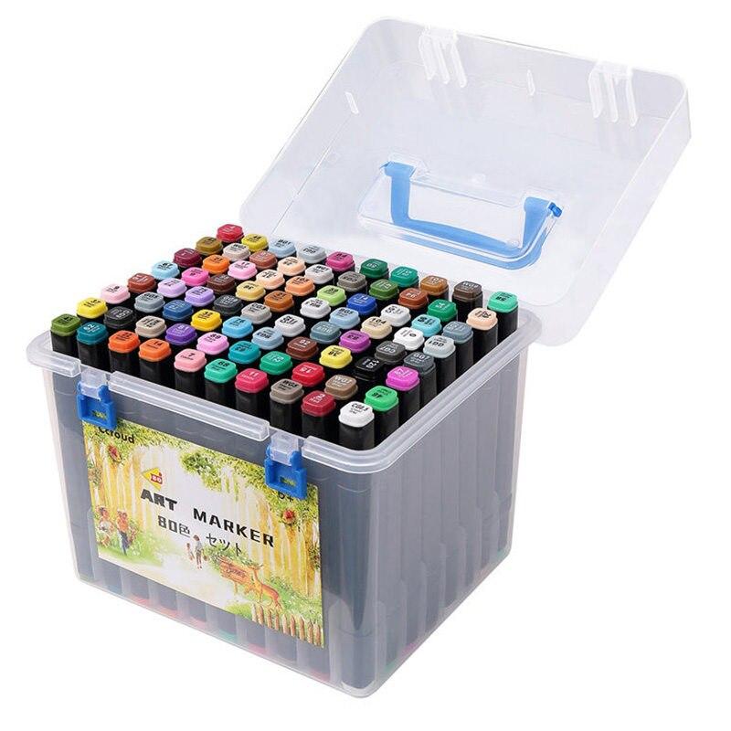 80 couleurs Art marqueurs ensemble double tête artiste esquisse encre grasse dessin marqueurs stylo ensemble pour Manga enfants adultes Art fournitures