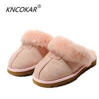 KNCOKAR en peau de mouton en cuir doublé de fourrure femmes maison chaussures pantoufles d'hiver en suède intérieur maison chaussures pour femme demi pantoufles ventes chaudes