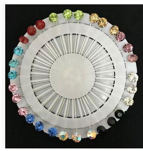Разные цвета мусульманских Стразы булавки для хиджаба шарф шпильки BZ010