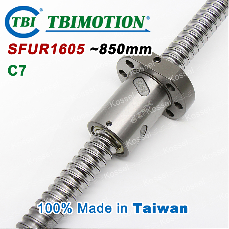 TBI ballscrew SFU1605 C7 850mm ball screw 5mm lead with SFU 1605 ball nut with end machined for high stability CNC diy kit SFU tbi dfi 2505 600mm ball screw milled ballscrew and end machined for high stability linear cnc diy kit