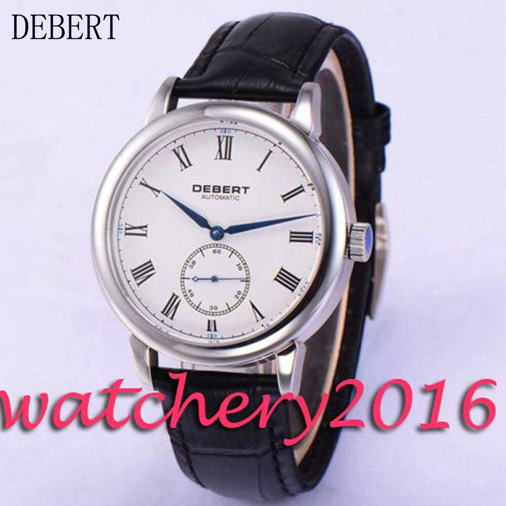 Simple Debert 40mm white dial Roman numbers blue hands Automatic movement Men's Watch коньки onlitop 223f 37 40 blue 806164