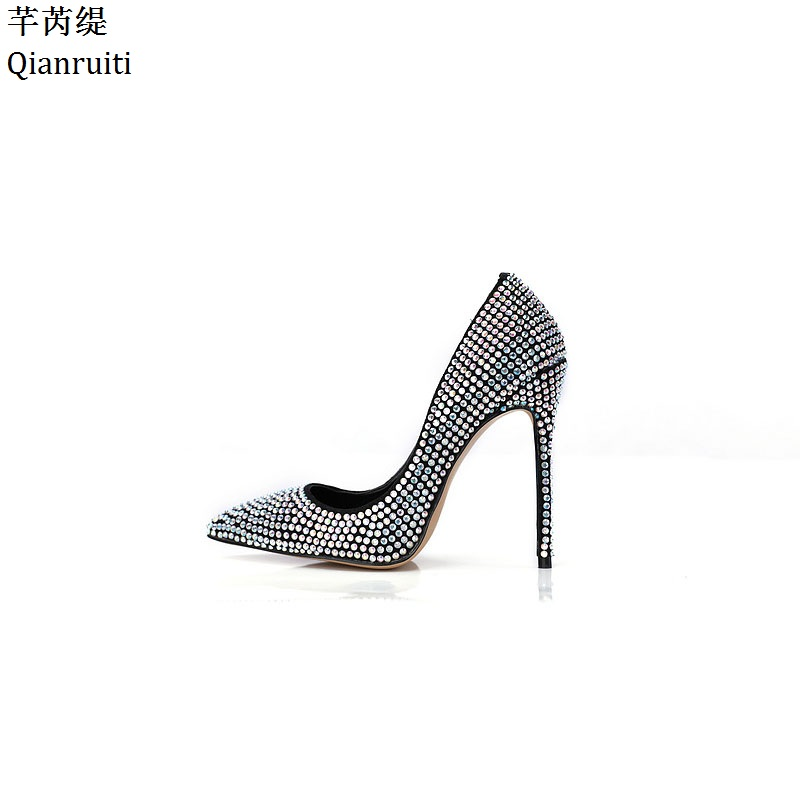 Qianruiti Embroidered Crystals High Heels Women Shoes Kim Kardashian Style Bridal Wedding Shoes Sexy Pointed Toe Women Pumps romyed bridals wedding shoes kim kardashian pumps superstar shoes top quality flowers evening christian shoes size 4 16 shofoo