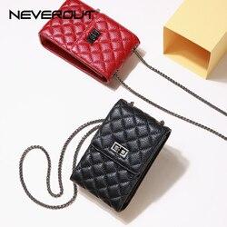 NEVEROUT Women Phone/Mini Bag Classic Diamond Lattice Genuine Leather Messenger Bag Red/Black Shoulder Sac Ladies Crossbody Bags