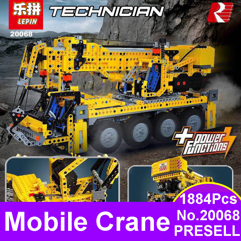 LEPIN 20068 1884Pcs Technic Mechanical Series The Moving Crane Set Building Blocks Bricks Education Toys For Children Boys 8421 wange mechanical application of the crown gear model building blocks for children the pulley scientific learning education toys