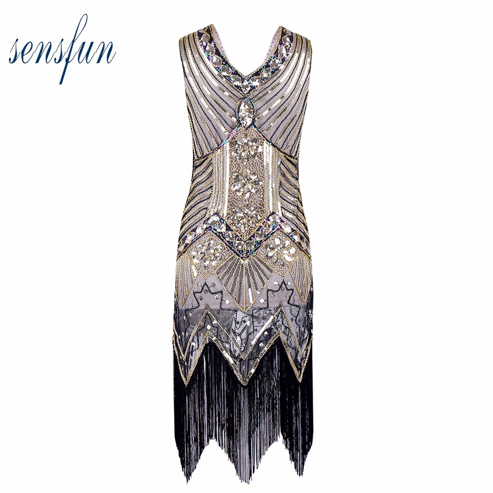 Sensfun 2017 Women's Style Shining Flapper Dress Vintage Gatsby Great Gatsby Charleston Sequin Tassel Party Gold Mesh Sequins