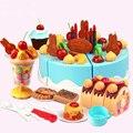 75 pçs/set DIY placa de Corte de Frutas Bolo de Aniversário para Crianças Brinquedo Clássico Do Bebê Precoce Educacional Pretend Play Kitchen Food Brinquedos As Crianças Presentes
