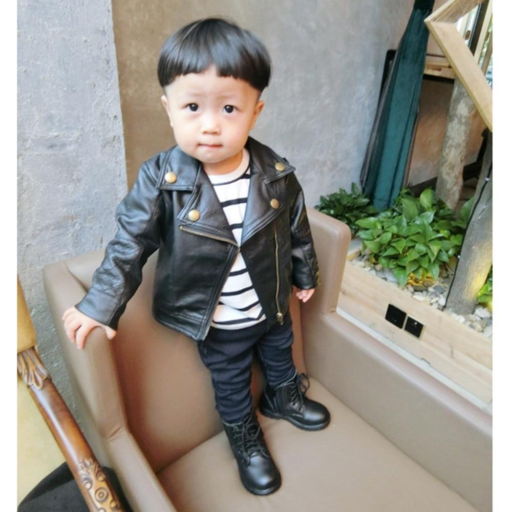 784fed1243de Fashion Baby Boy Leather Jackets PU Short Coat for Boys Outerwear ...