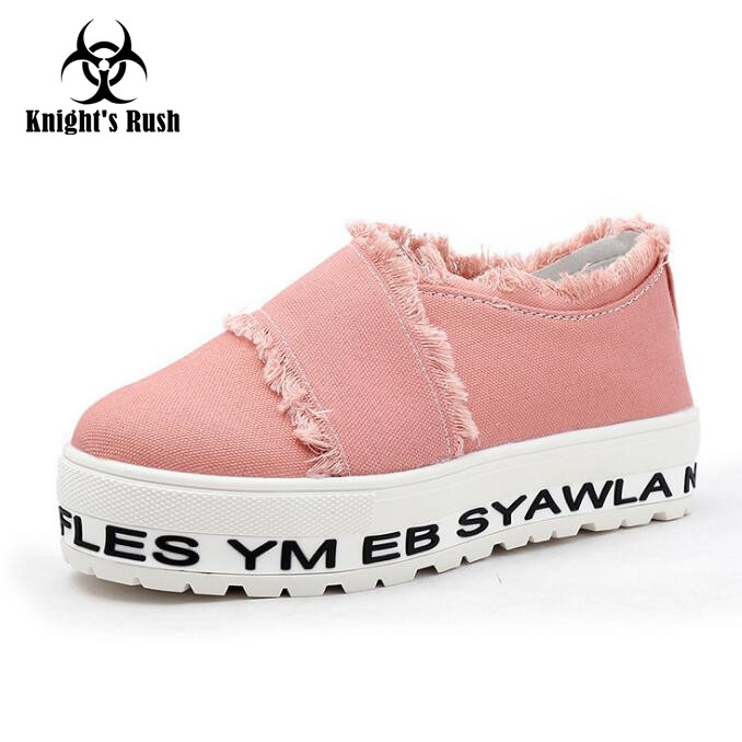 2018 Spring Autumn  Canvas Shoes Ladies Korean Version Of The Tide Stripe Shallow Mouth Flat  Platform Shoes Wome Casual Shoes виниловые пластинки joni mitchell ladies of the canyon