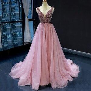 Image 3 - Dubai Design rouge haricot Sexy robes de soirée 2020 paillettes cristal sans manches étincelle robe formelle vraie Photo 66713