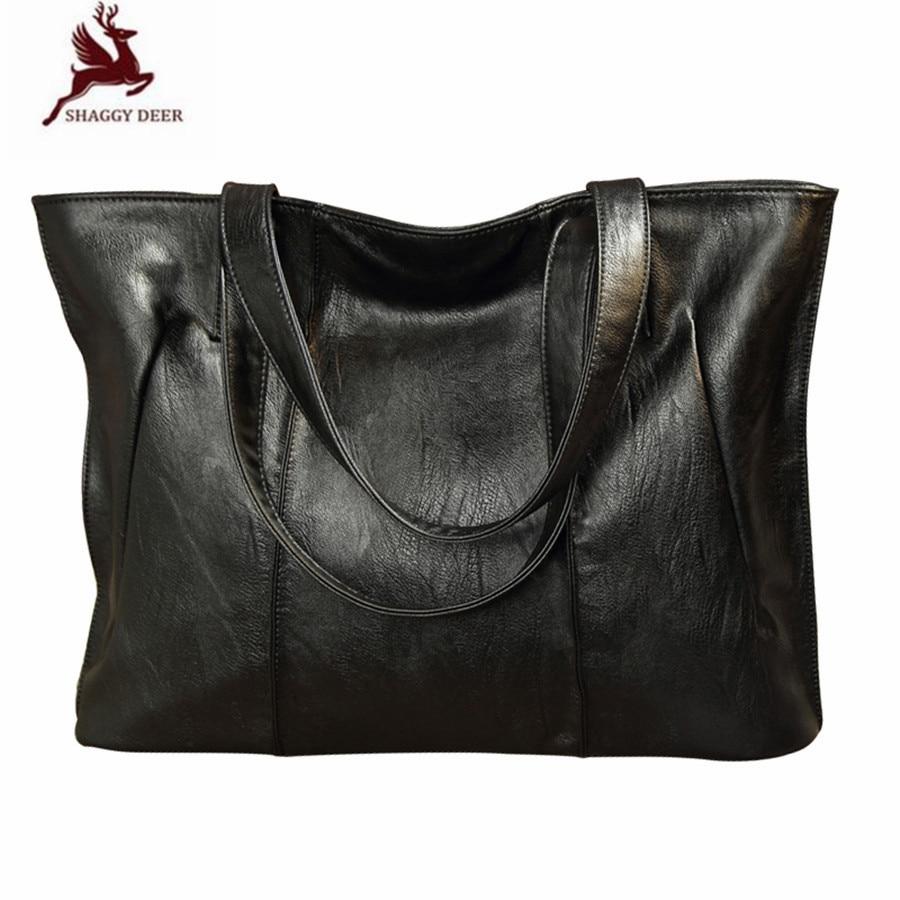 Vintage Women Casual Tote Genuine Leather Sheepskin Big Shopping Bag Quality Shaggy Deer New Designer Leather Handbag jmd 100% guarantee genuine vintage leather women s tote shoulder bag for shopping 7271c