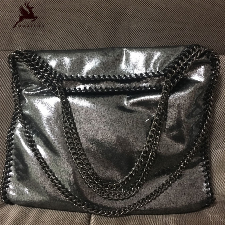 Exclusive Shaggy Deer Brand Shinny Faux Leather High Quality PVC falabella design 3 Chain Fold-over Tote mini gray shaggy deer pvc quilted chain bag with cover real picture