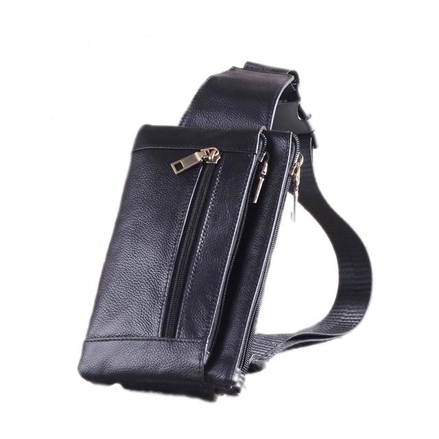 Pochete de couro dos homens de couro genuíno sacos bolsos no peito fanny pack cintura bolsa Masculina lazer clássico saco do mensageiro crossbody