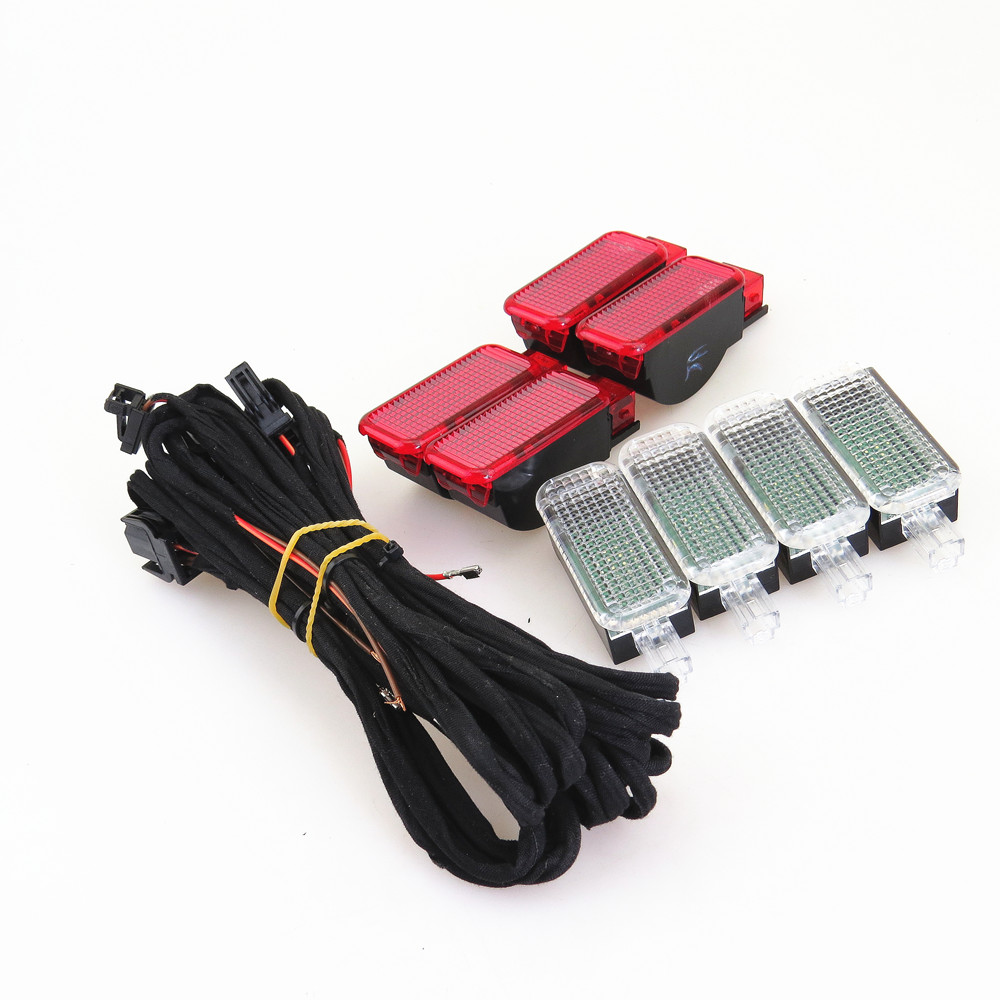 ZUCZUG Door Plate Warning Light + LED Interior Footwell Lights + Cable Harness For Q3 Q5 Q7 A3 A4 S4 A6 S6 3AD 947 409 8KD947411 8pcs tuke oem led pathway lighting porte avertissement lumiere cable fit a4 a5 a6 a7 a8 q3 q5 q7 tt 3ad 947 409 8kd 947 411