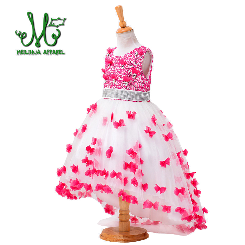 Teens Girl Wedding Dress High Quality Gown Princess Birthday Party Dresses Rose Red Sleeveless Dress For 4 6 8 10 12 14 Years