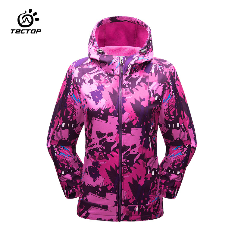 Tectop camping hiking jackets female windproof waterproof rain warm winter softshell clothing camping outdoor jacket women