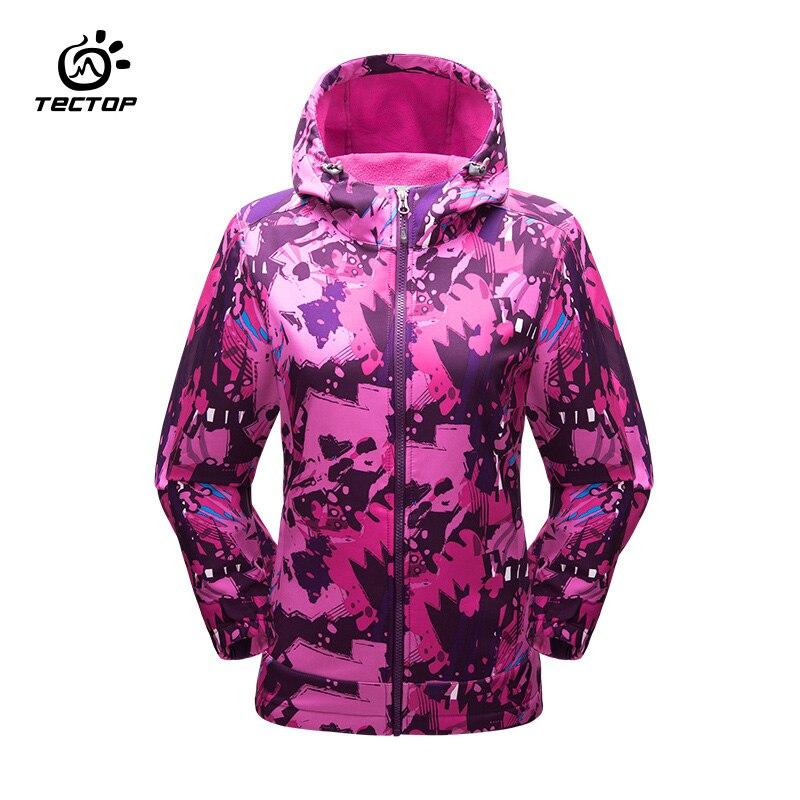 Tectop camping randonnée vestes femme coupe-vent imperméable à l'eau pluie chaud hiver softshell vêtements camping extérieur veste femmes