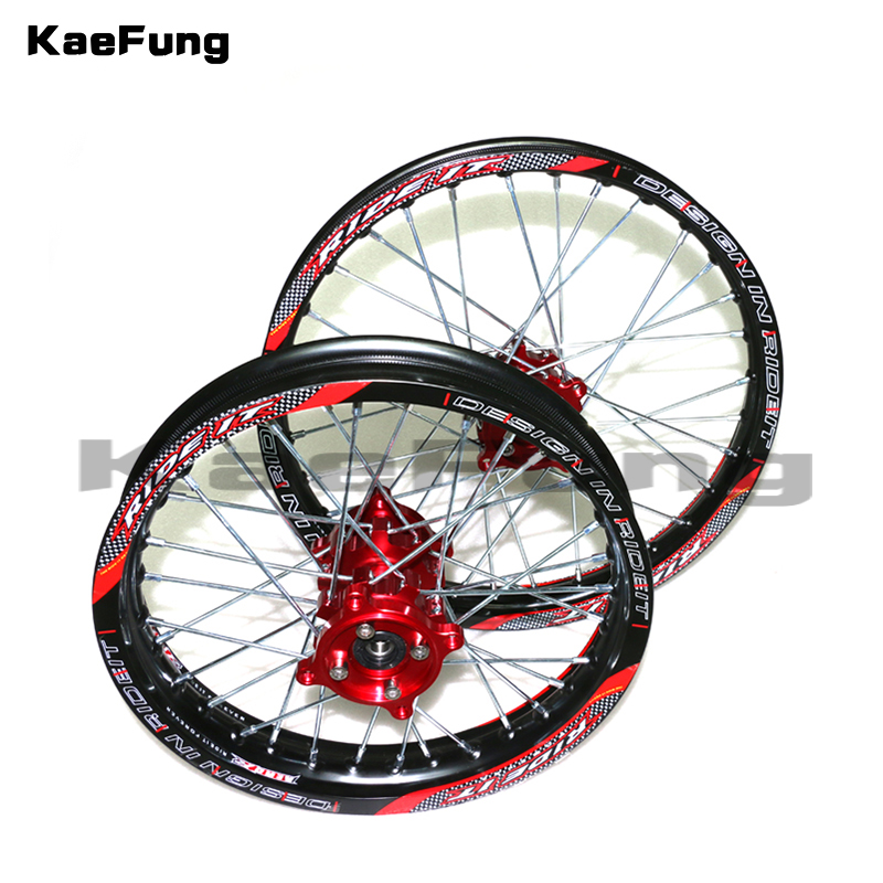 Dirt Pit bike 15mm Front 1.60-17 Rear 1.85-14 inch Alloy Wheel Rim with CNC Hub For KAYO HR-160cc TY150CC 14/17 inch wheel 14 inch front wheel rotating disc teeth open file 100mm axis length 140mm us tsui kole bike rim electric bike wheel bzo004