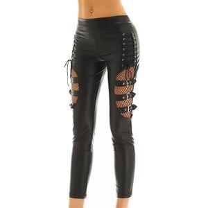 Image 2 - TiaoBug pantalon Faux cuir femme, noir, épissure de résille, Sexy, Slim, extensible, Punk, gothique, Rave, soirée en boîte de nuit