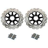 BIKINGBOY Front Brake Discs Disks Rotors Brake Pads for Kawasaki ZXR 400 89 90 ZZR 400 600 90 91 92 99 ZX 6R GPZ 900 R 95 96