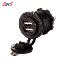 Motorcycle Cigarette Lighter 5V 3 1A Dual USB Motor Charger Socket Fast Charges for iPhone iPad car styling cheap Plastic panel mount usb charger usb charger motorcycle VODOOL 2018 3 6cm 5V---3 1A Universal dual usb panel mount Motorcycle accessaries
