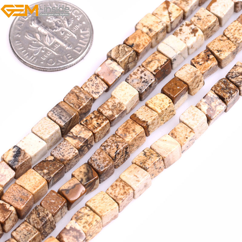 Gem-inside Natural Flat Square Stone Beads For Jewelry Making Selectabel Type 4mm 15inches DIY Jewellery