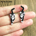 2016 New Fashion Black Enameled Cat Stud Earrings Kitten Earrings, Free Shipping