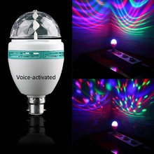 1pc 3W E27/B22 Voice Activated Colorful Rotating Spot Crystal Light Bulb Lamp XMAS party light stage lighting effect gadget led