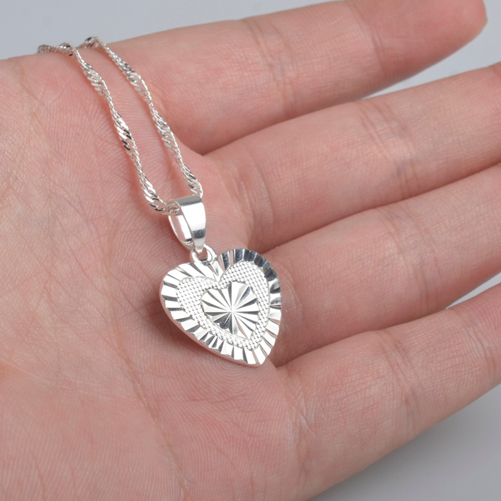 Bridal classics necklace sets mj 259 - Anniyo Heart Pendant And Necklaces Romantic Jewelry Silver Color For Womens Wedding Gift Girlfriend