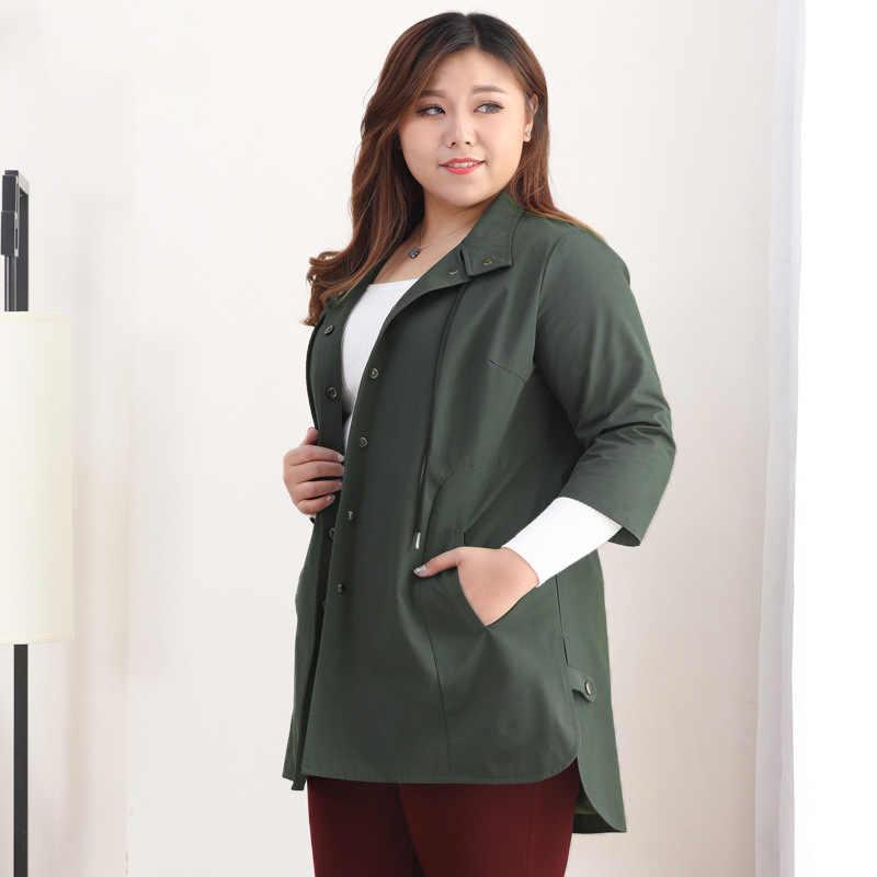 בתוספת גודל 10XL 9XL 8XL - 4XL נשים של ארוך טרנץ מעילי 2018 מקרית מעיל נשים מעיל גברת משרד גדול גדלים בגדי לfemme