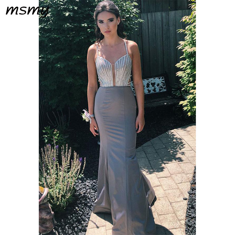 2019 New Sexy   Evening     Dresse   Mermaid Prom Dresss Floor Length Sleeveless Besding   Evening   Gowns Custom Made Vestido de noche