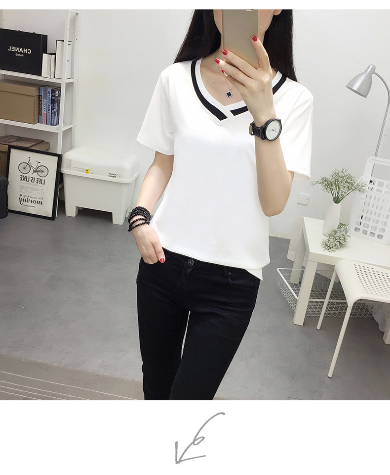 4XL 5XL Plus Size Korean Women's Clothing Fashion Big Size T-shirt Female V neck Short Sleeve Casual obesity Tee Shirt Top Femme 34