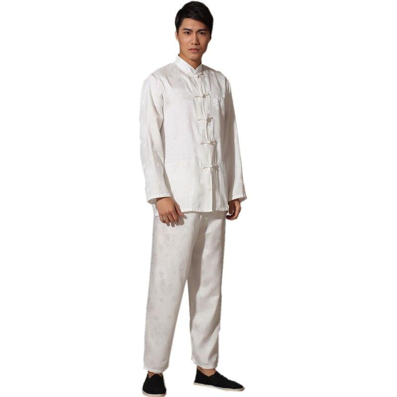 Chinese Traditional Men's Satin Rayon Kung Fu Suit Vintage Long Sleeve Tai Chi Wushu Uniform Clothing M L XL XXL 3XL L070607