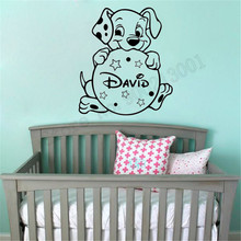 Wall Sticker Baby Dog Kidsroom Decoration Personalized Name Poster Vinyl Art Removeable Ornament Home Decor LY711 цена и фото