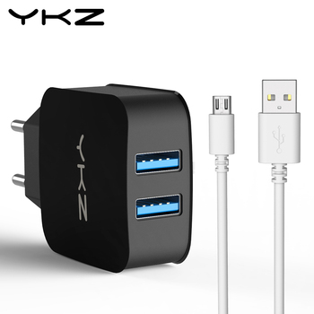 YKZ Universal Dual USB Charger EU US Wall Charger Mobile Phone Charger For iPhone Samsung Xiaomi Huawei USB adapter Plug Y35
