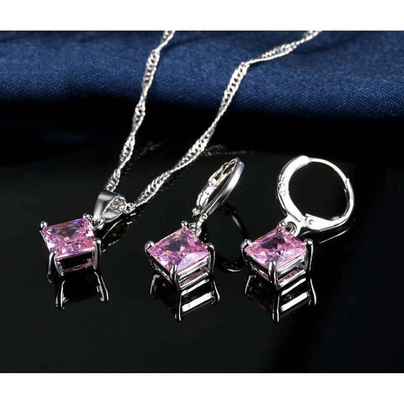 Hohe Qualität Zirkon Geometrische 3D Platz Erklärung Halskette 925 Sterling Silber Ohrringe Set Für Dame Beste Geschenk