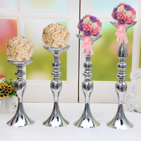 PEANDIM Candelabra Romantic Flower Standing Centerpiece Candlestick Silver Plated Candle Holder Road Lead Wedding Decoration
