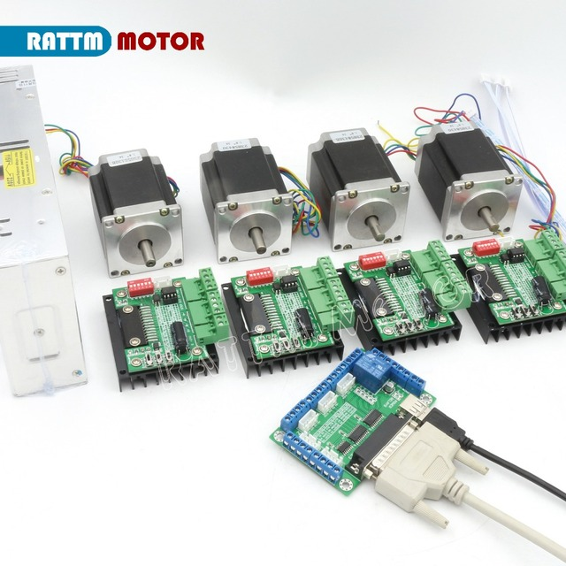 4 Axis Tb6560 Cnc Router Controller Kit Nema23 270 Oz In Stepper Motordual Shaft Motor Driver Milling Machine
